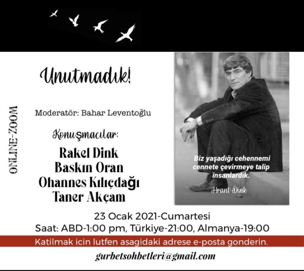 Unutmadık! Hrant Dink'ı anma toplantısı-23 Ocak 2021